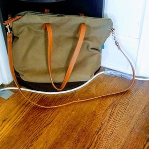 Olive Canvas Zippered Tote